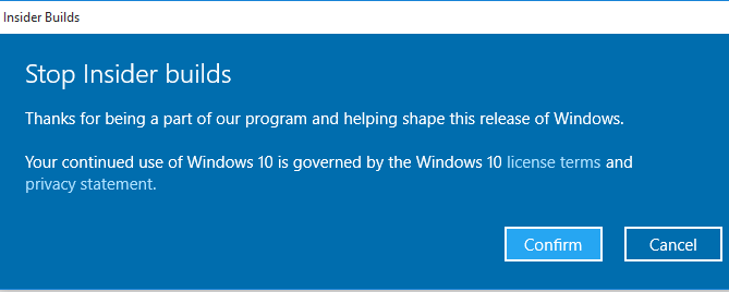 Confirm Leaving Windows Insider and Unlink Windows 10