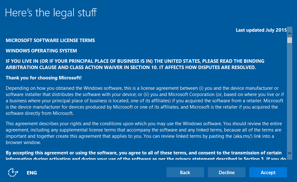 Windows 10 License Terms