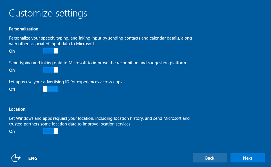Customize Windows 10 Settings During Setup