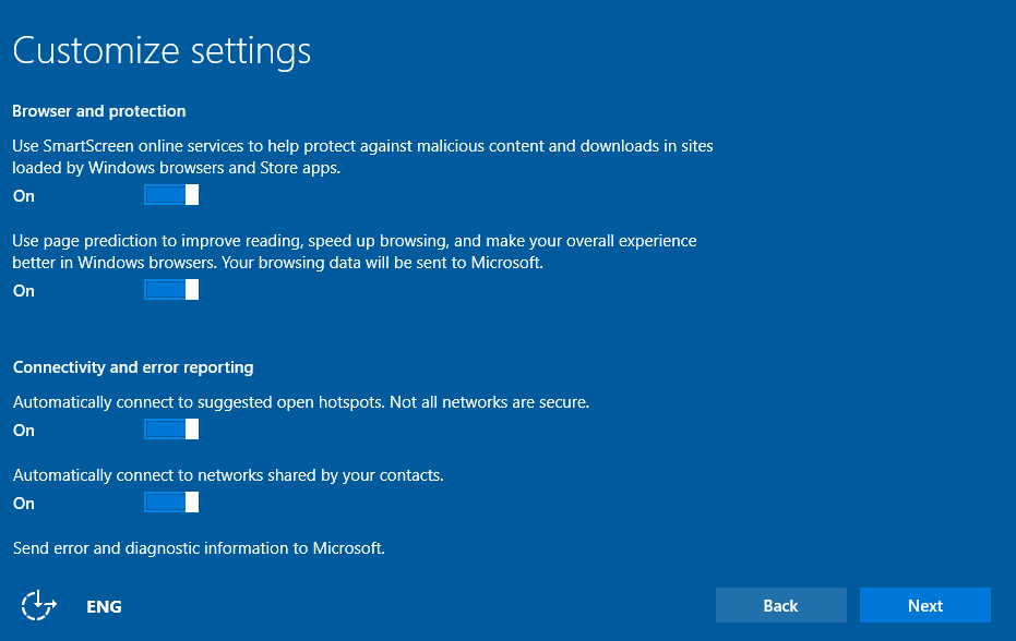 Customizing Settings during Windows 10 Initial Startup