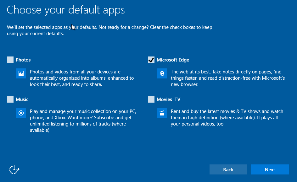 Select Windows 10 Default Apps During Initial Startup