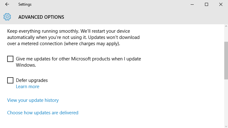 Windows Update Delivery Method Selection