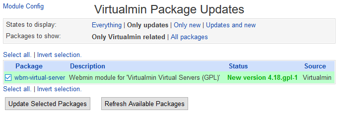 Virtualmin Package Updates