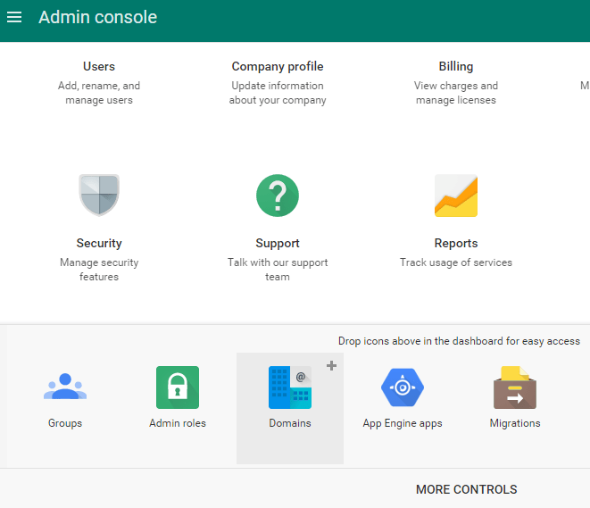 Domains in Google Apps Admin Console