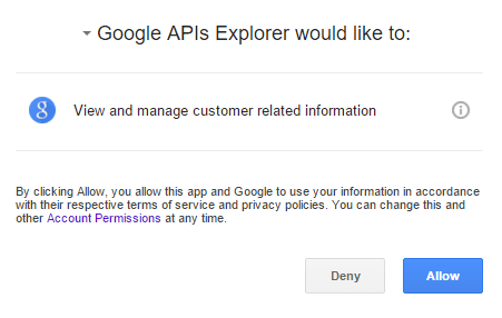 Allow Google APIs Explorer
