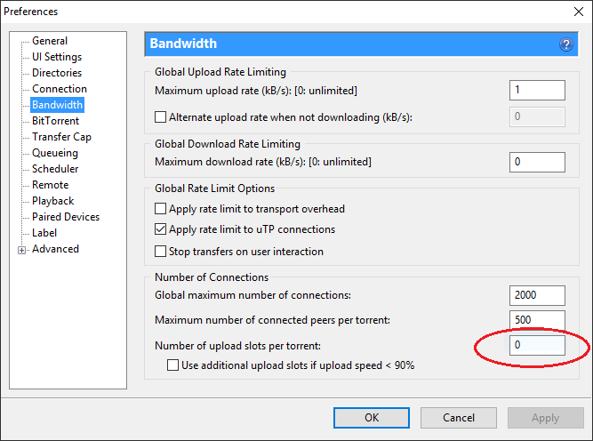 Disable Seeding in uTorrent