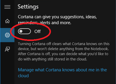 turn off cortana service windows 10