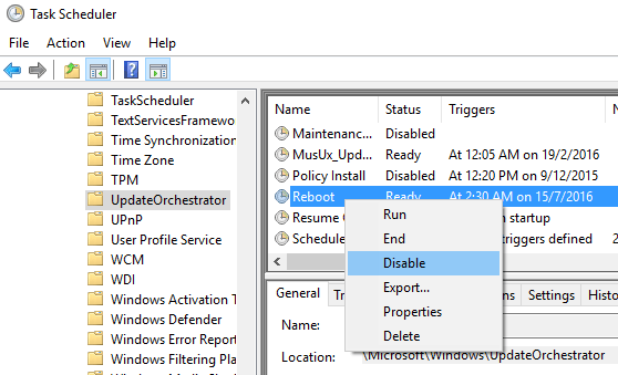 Disable Reboot in Windows 10