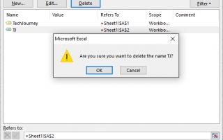 Delete Defined Names in Excel