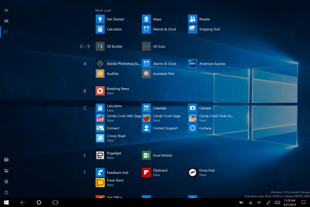 Full-screen All Apps List in Start