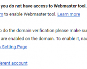 Google Apps You Do Not Have Acccess to Webmaster Tools