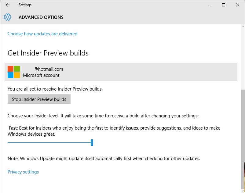 Windows Insider Ring Level