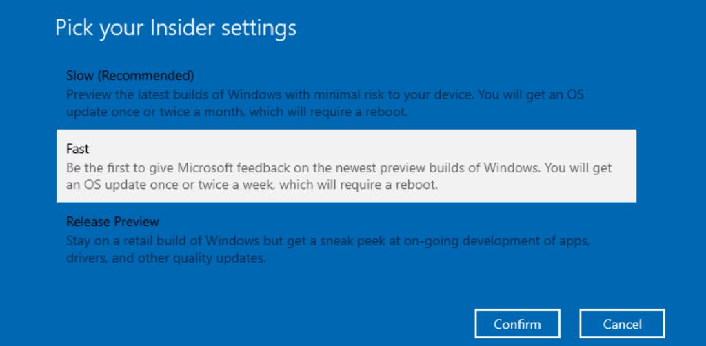 Windows Insider Ring Setting