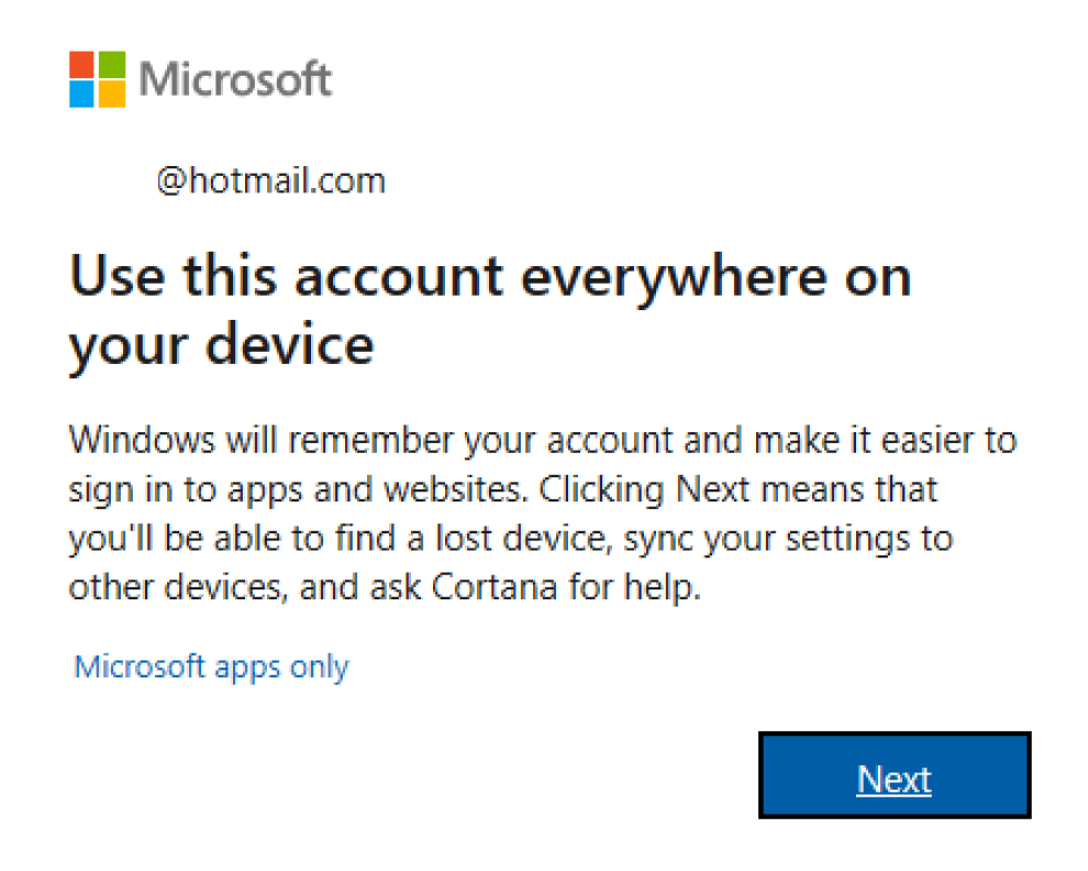 Use Microsoft Account for Device or Microsoft Apps Only