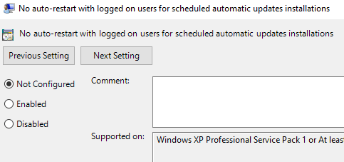 No Auto Restart Group Policy
