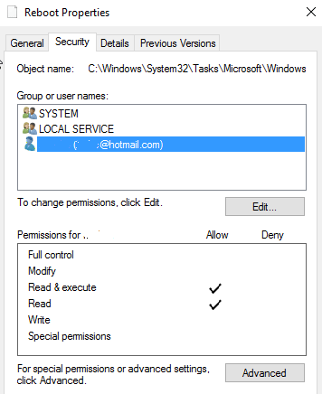 Remove Write & Modify Permissions for Reboot Task