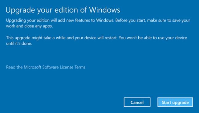 Start Upgrade Edition of Windows