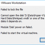 VMWare Failed to Lock the File - Cannot Open the Disk or Snapshot