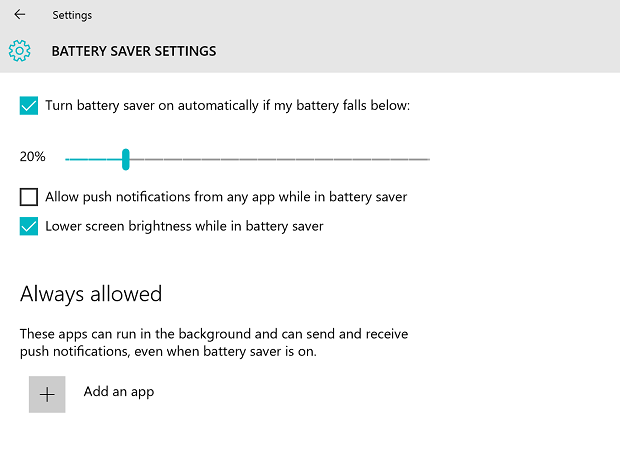 Windows 10 Battery Settings with Always Allowed for Connected Standby