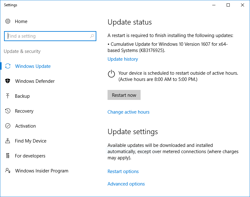 Windows 10 Windows Update Restart