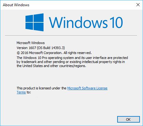 Windows 10 Version 1607 Build 14393.3