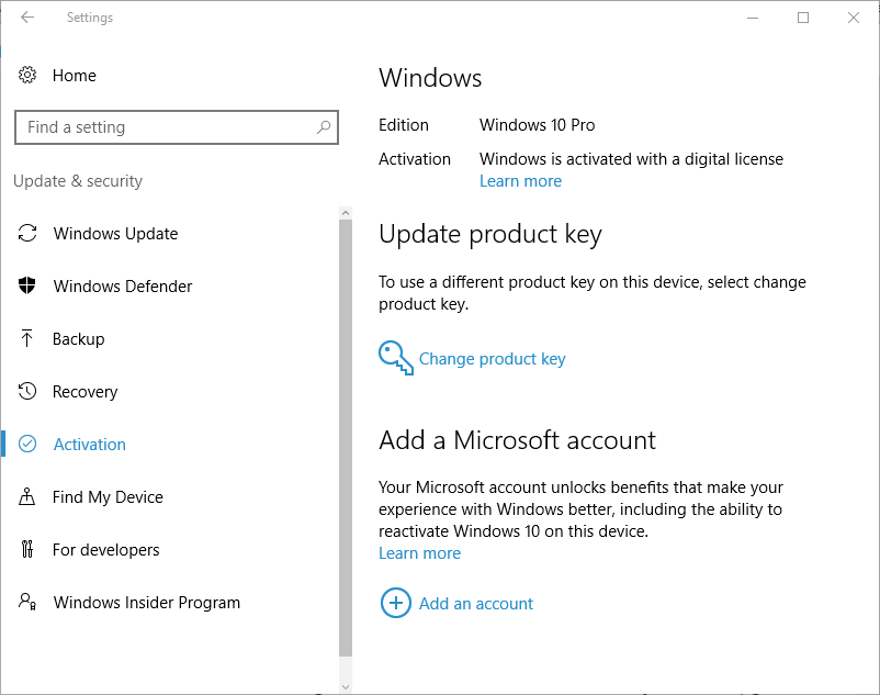 Windows is Activated with Digital License