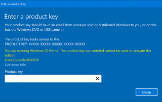 Windows 10 Home Swith to Pro Error Product Key