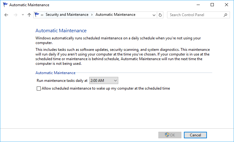 Disable Automatic Maintenance Wakes Up Computer