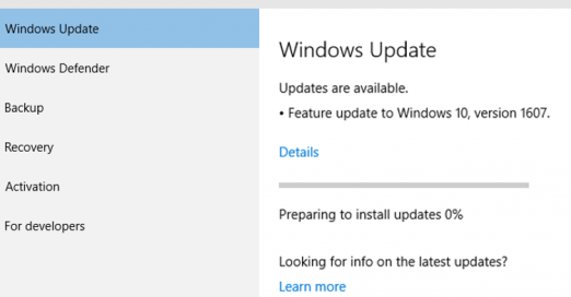 Windows 10 Anniversary Update (Version 1607 - Build 14393