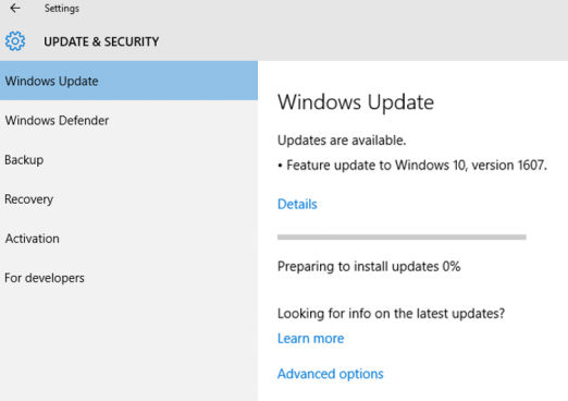 Feature update to Windows 10, version 1607
