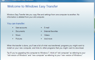Windows Easy Transfer in Windows 10