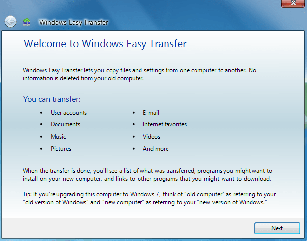 Windows Easy Transfer Files & Settings to Windows 10 / 8 1