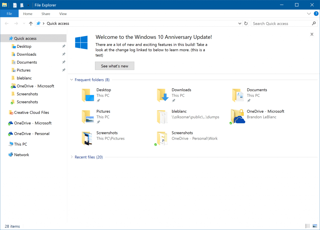 Windows 10 Build 14901 File Explorer New Notifications