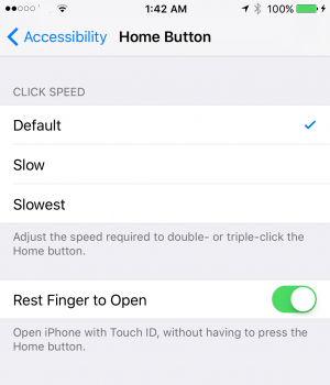 Rest Finger to Unlock iPhone / iPad