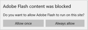 Adobe Flash Content Was Blocked in Microsoft Edge