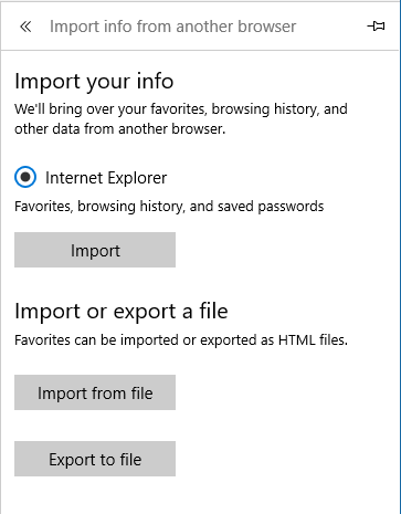 Import Settings in Microsoft Edge