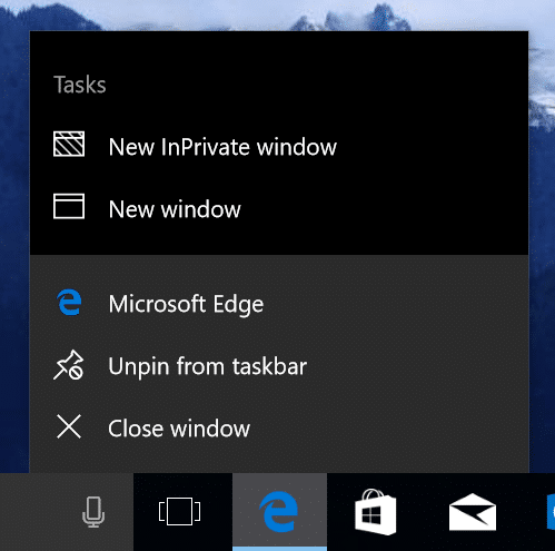 Jump List in Microsoft Edge