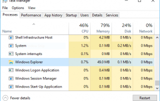 Restart Explorer in Task Manager