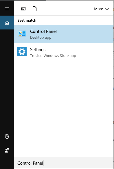 Search for Control Panel