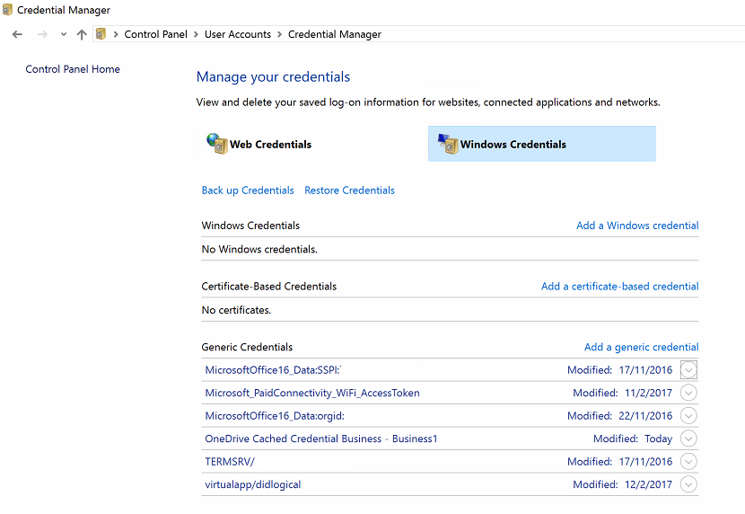 Office Credentails in Credentials Manager