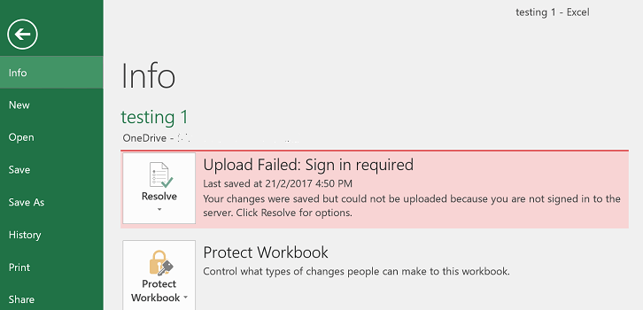 Upload Failed When Save in Office Word, Excel, PowerPoint to OneDrive or Local