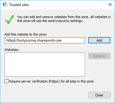 Add URL / Domain to Trusted Sites