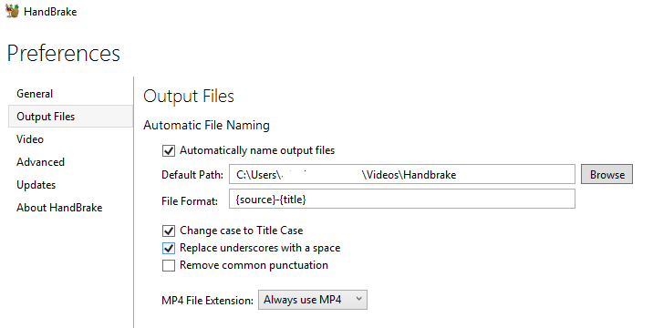 HandBrake Always Use MP4 as File Extension