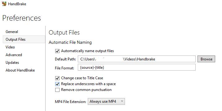 HandBrake Always Use MP4 as File Extension