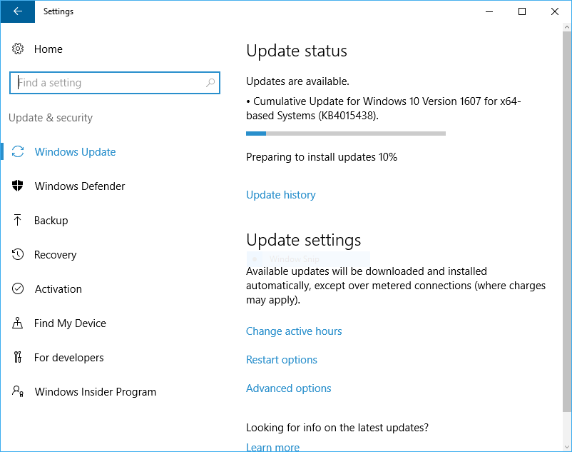 KB4015438 Cumulative Update