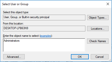 Select New Owner for Registry Key