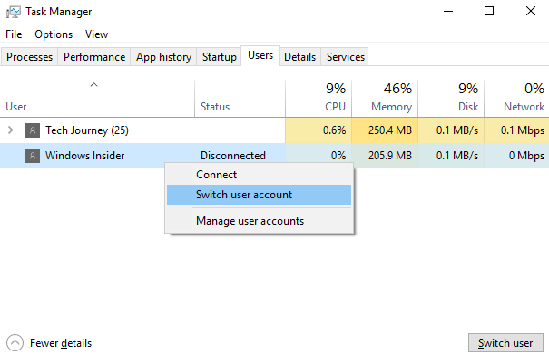 Switch User on Task Manager