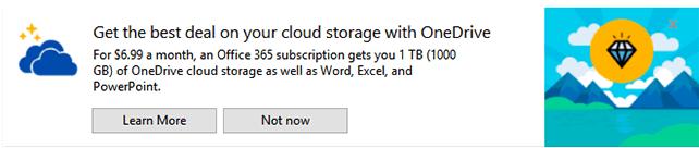 Windows 10 File Explorer Promotes Office 365