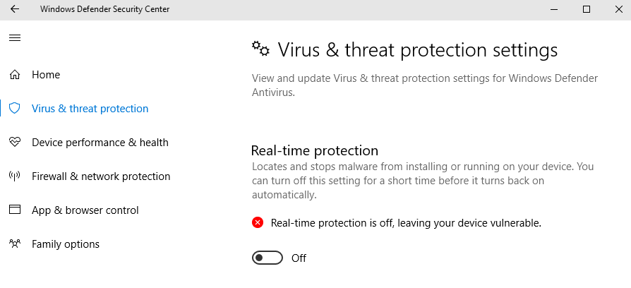 Disable Real-Time Protection of Windows Defender