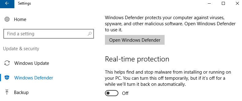 Turn Off Real-Time Protection of Windows Defender